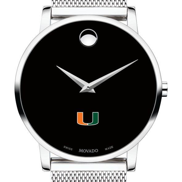 University of Miami Men's Movado Museum with Mesh Bracelet - Image 1