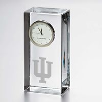 Indiana University Tall Glass Desk Clock by Simon Pearce