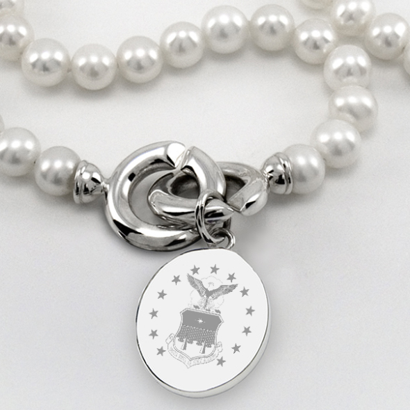 Air Force Academy Pearl Necklace with Sterling Silver Charm - Image 2