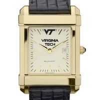Virginia Tech Men's Gold Quad Watch with Leather Strap