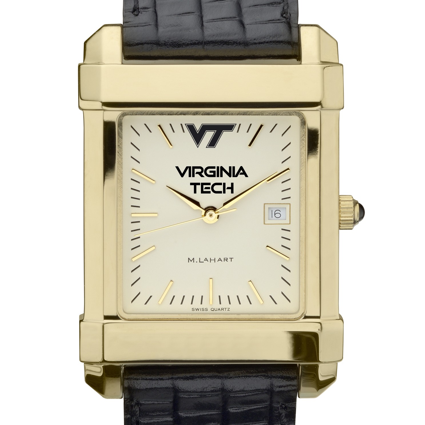 Virgina Tech Men's Gold Quad Watch with Leather Strap