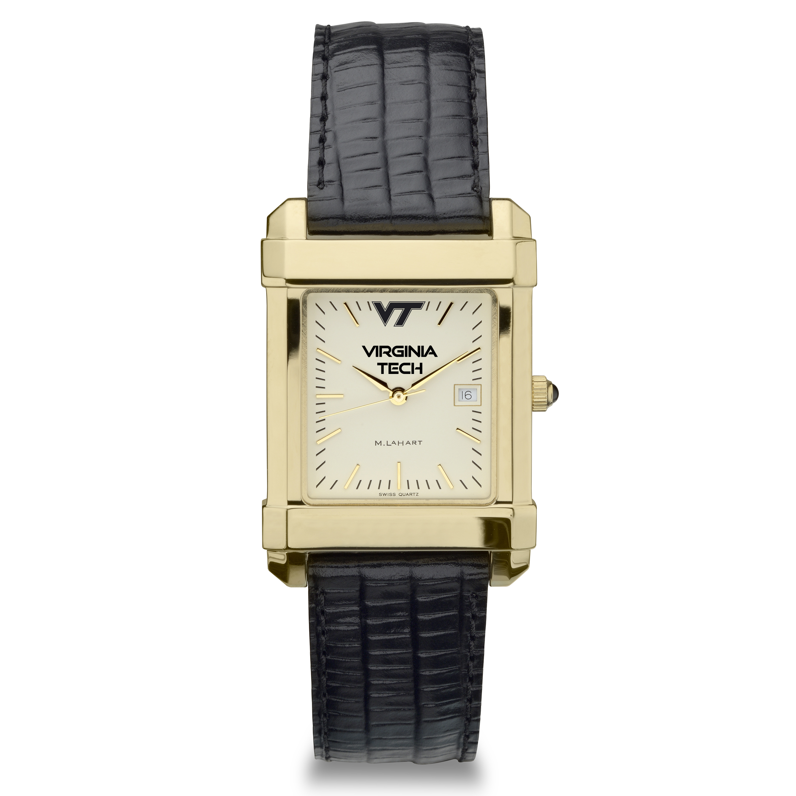 Virgina Tech Men's Gold Quad Watch with Leather Strap - Image 2