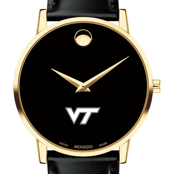 Virginia Tech Men's Movado Gold Museum Classic Leather