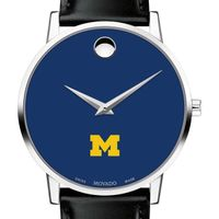 University of Michigan Men's Movado Museum with Blue Dial & Leather Strap