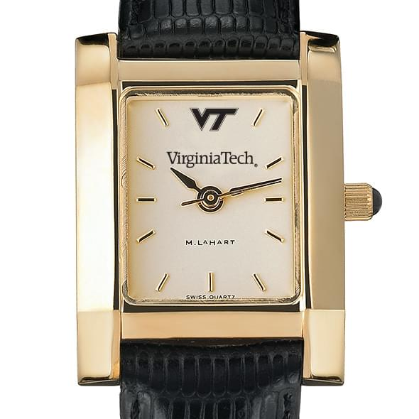 Virginia Tech Women's Gold Quad Watch with Leather Strap