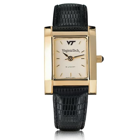Virginia Tech Women's Gold Quad Watch with Leather Strap - Image 2