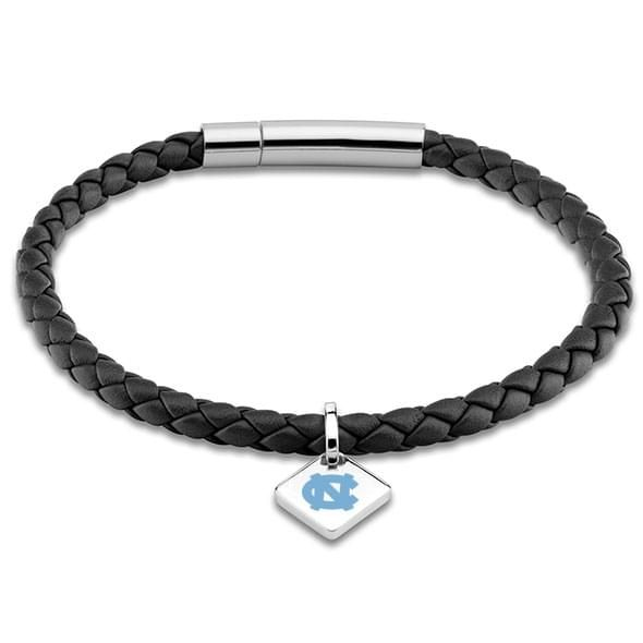 UNC Leather Bracelet with Sterling Silver Tag - Black