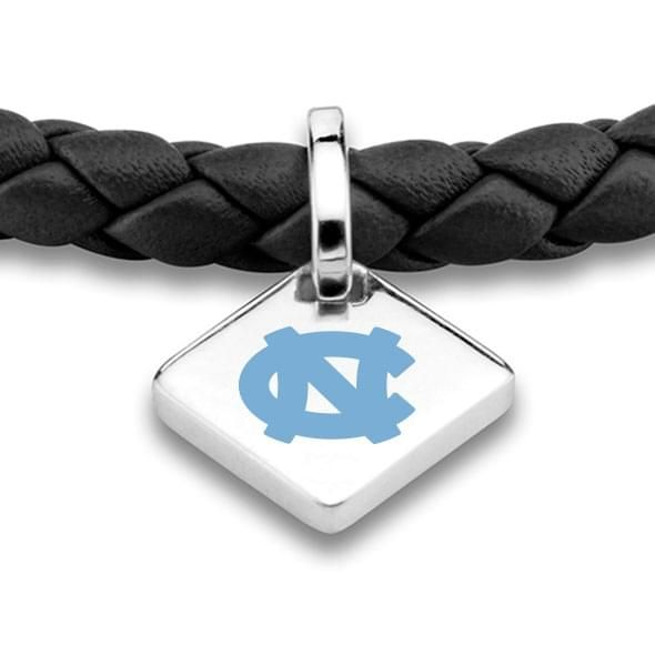 UNC Leather Bracelet with Sterling Silver Tag - Black - Image 2