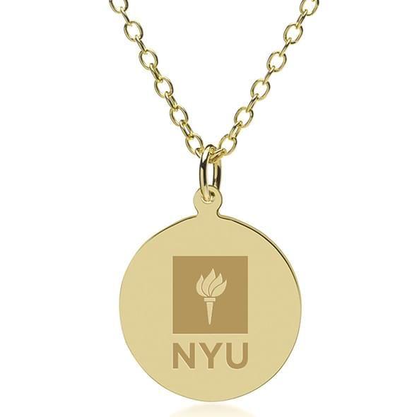 NYU 18K Gold Pendant & Chain