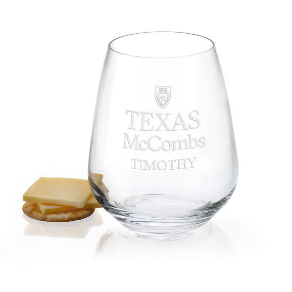 Texas McCombs Stemless Wine Glasses - Set of 2 - Image 1