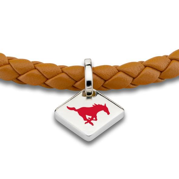 Southern Methodist University Leather Bracelet with Sterling Silver Tag - Saddle - Image 2