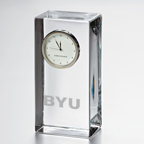 Brigham Young University Tall Glass Desk Clock by Simon Pearce