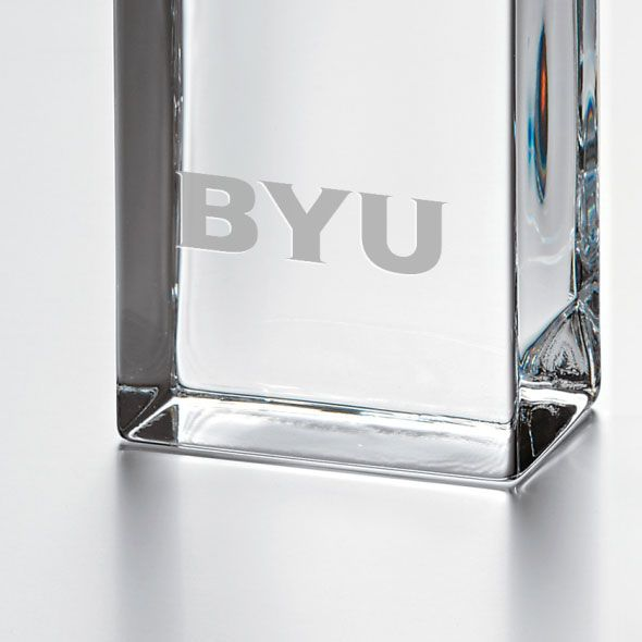 Brigham Young University Tall Glass Desk Clock by Simon Pearce - Image 2