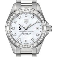 Northwestern Women's TAG Heuer Steel Aquaracer with MOP Diamond Dial & Diamond Bezel