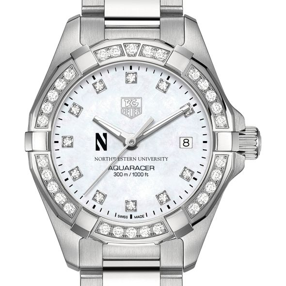 Northwestern University W's TAG Heuer Steel Aquaracer with MOP Dia Dial & Bezel