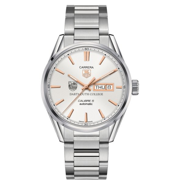 Dartmouth College Men's TAG Heuer Day/Date Carrera with Silver Dial & Bracelet - Image 2