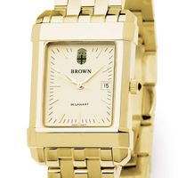 Brown Men's Gold Quad Watch with Bracelet