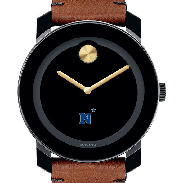 US Naval Academy Men's Movado BOLD with Brown Leather Strap