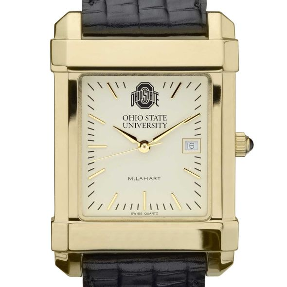 Ohio State Men's Gold Quad with Leather Strap - Image 1