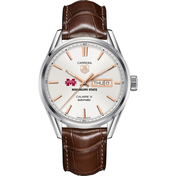 Mississippi State Men's TAG Heuer Day/Date Carrera with Silver Dial & Strap - Image 2