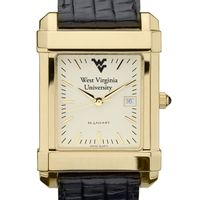 West Virginia University Men's Gold Quad with Leather Strap