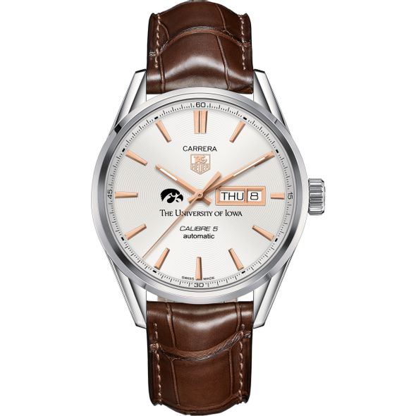 University of Iowa Men's TAG Heuer Day/Date Carrera with Silver Dial & Strap - Image 2