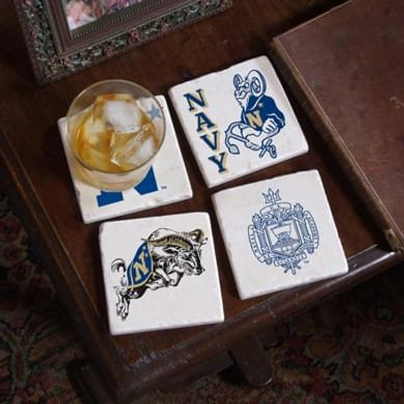 Naval Academy Logos Marble Coasters