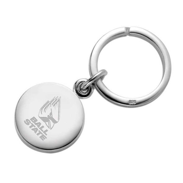 Ball State Sterling Silver Insignia Key Ring - Image 1