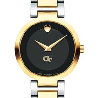 Georgia Tech Women's Movado Two-Tone Modern Classic Museum with Bracelet