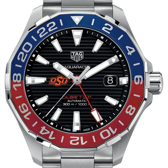 Oklahoma State Men's TAG Heuer Automatic GMT Aquaracer with Black Dial and Blue & Red Bezel - Image 1
