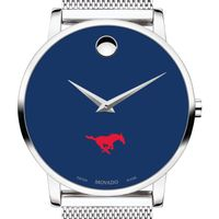 Southern Methodist University Men's Movado Museum with Blue Dial & Mesh Bracelet