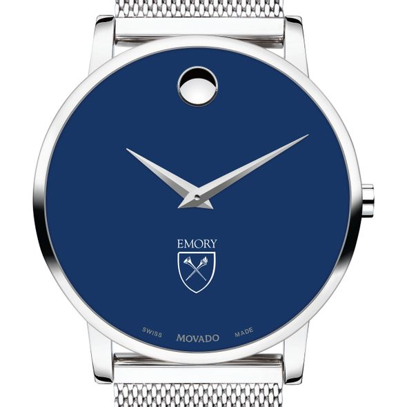 Emory University Men's Movado Museum with Blue Dial & Mesh Bracelet