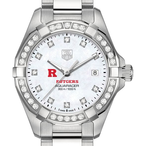 Rutgers University W's TAG Heuer Steel Aquaracer with MOP Dia Dial & Bezel - Image 1