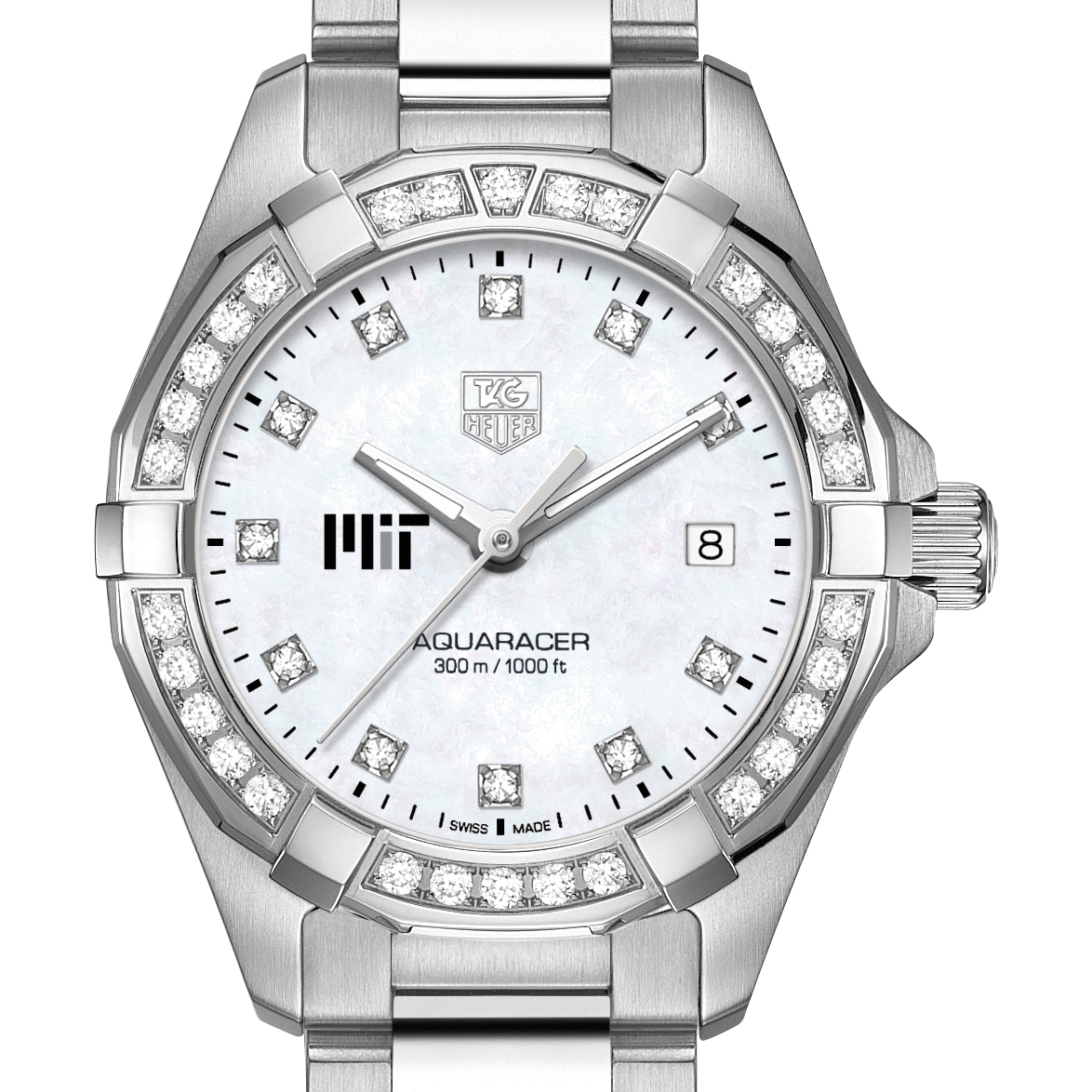 MIT Women's TAG Heuer Steel Aquaracer with MOP Diamond Dial & Diamond Bezel - Image 1