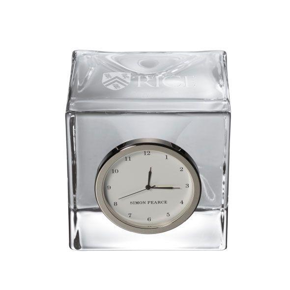 Rice University Glass Desk Clock by Simon Pearce
