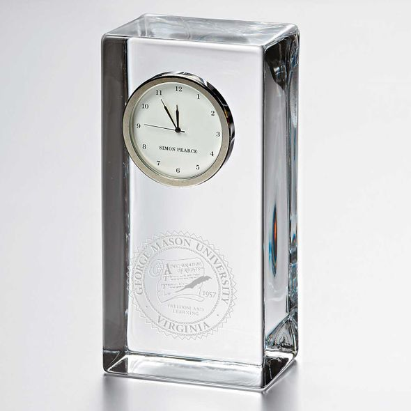 George Mason University Tall Glass Desk Clock by Simon Pearce