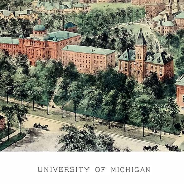 Historic University of Michigan Watercolor Print - Image 2