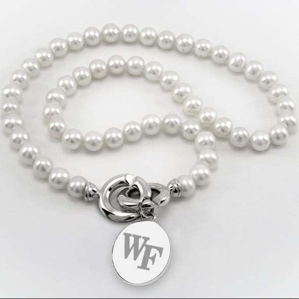 Wake Forest Pearl Necklace with Sterling Silver Charm - Image 1