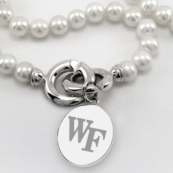 Wake Forest Pearl Necklace with Sterling Silver Charm - Image 2