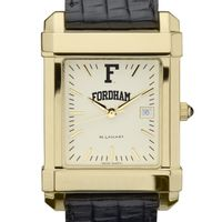 Fordham Men's Gold Quad with Leather Strap