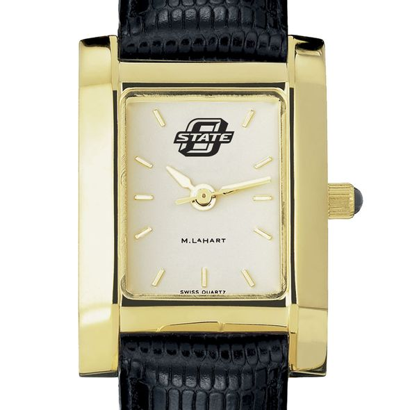 Oklahoma State University Women's Gold Quad with Leather Strap