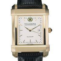 Villanova Men's Gold Quad Watch with Leather Strap