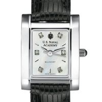 USNA Women's Mother of Pearl Quad Watch with Diamonds & Leather Strap