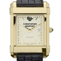 Christopher Newport University Men's Gold Quad with Leather Strap