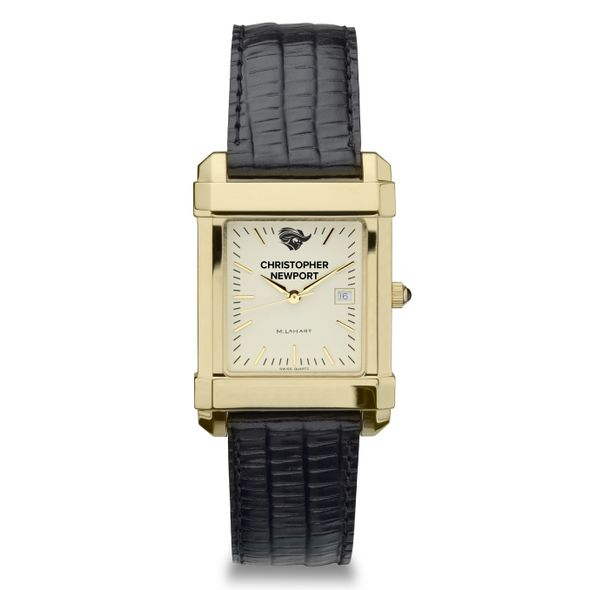 Christopher Newport University Men's Gold Quad with Leather Strap - Image 2