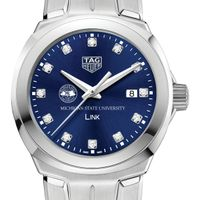 Michigan State University Women's TAG Heuer Link with Blue Diamond Dial