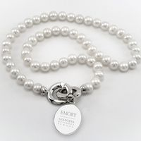 Emory Goizueta Pearl Necklace with Sterling Silver Charm
