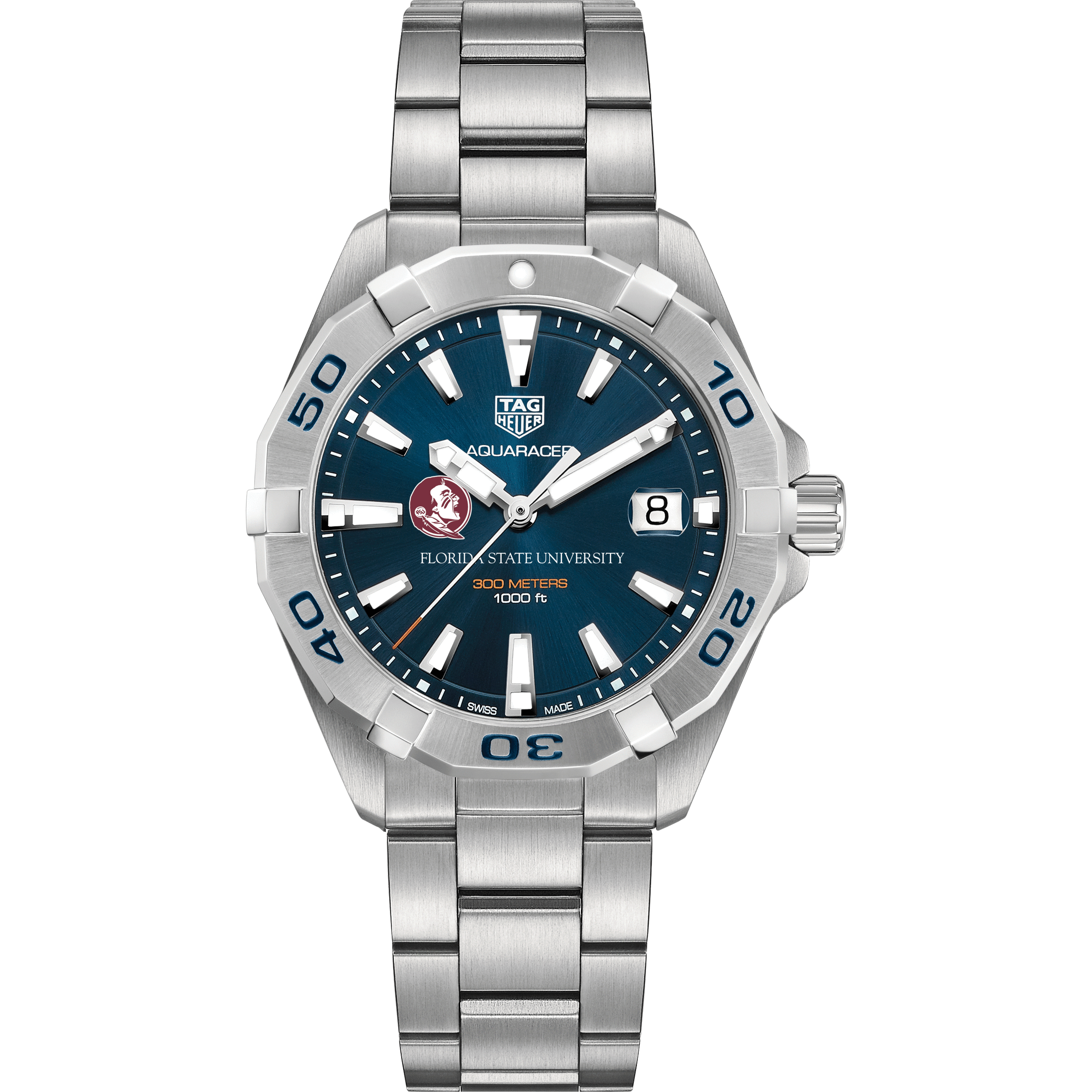 Florida State Men's TAG Heuer Steel Aquaracer with Blue Dial - Image 2