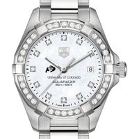 University of Colorado Women's TAG Heuer Steel Aquaracer with MOP Diamond Dial & Bezel