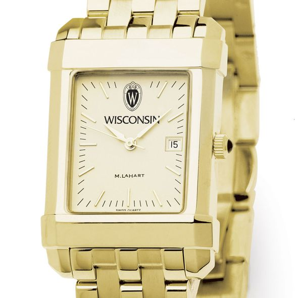 Wisconsin Men's Gold Quad Watch with Bracelet